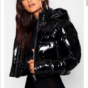 Shiny PU cropped jacket coat